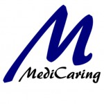 "MediCaring logo, a large blue letter ""M"" with the word MediCaring"